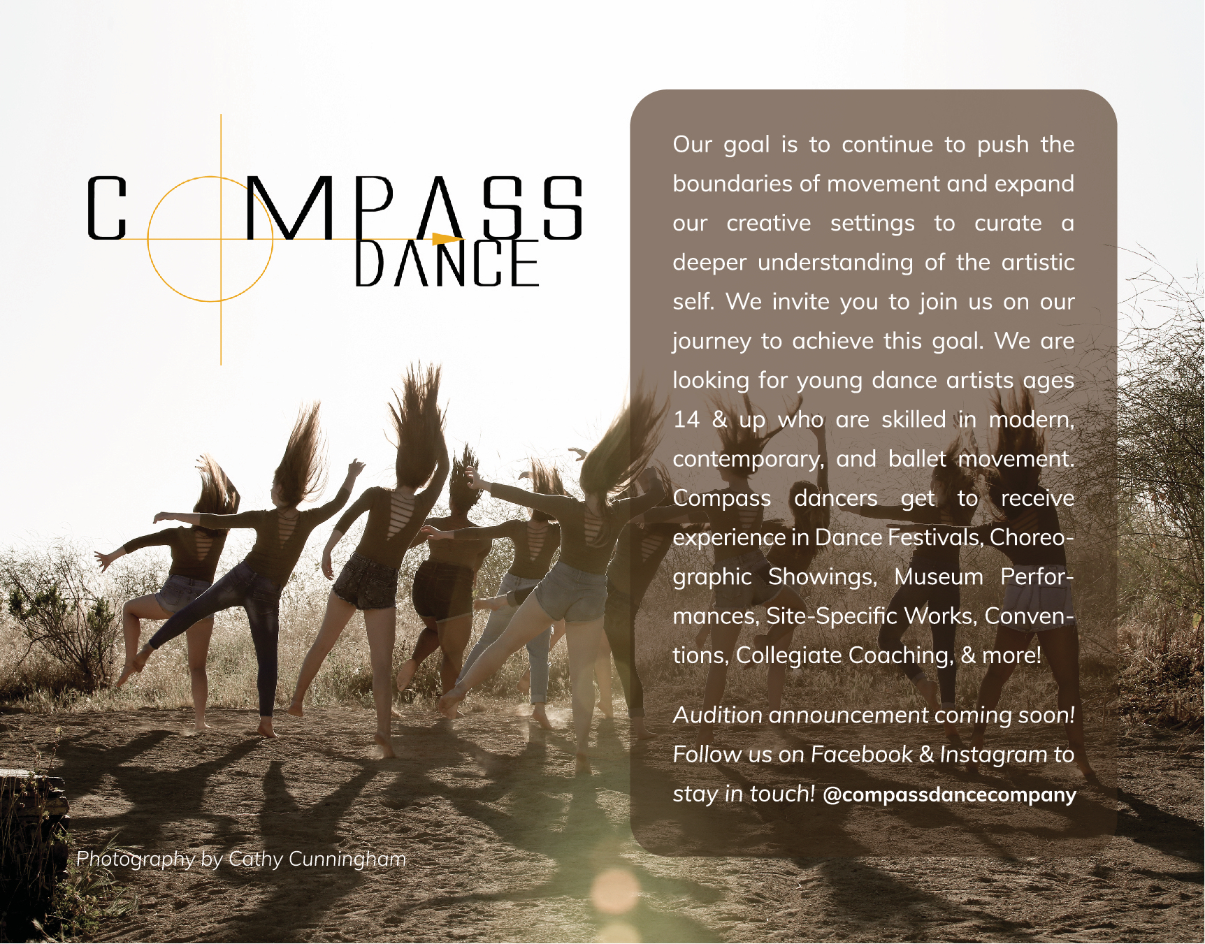 compass dance company   For more information, contact Ms. White at:  compassdance@dancediscoveryfoundation.org   or visit Compass Dance at:     www.compassdancecompany.com