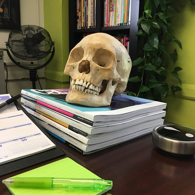It's been a long week at the office... Ricky didn't make it. #💀 This thing freaks me out. #creepy #itsreal #photoshoot #yorick #skull #isithalloweenyet