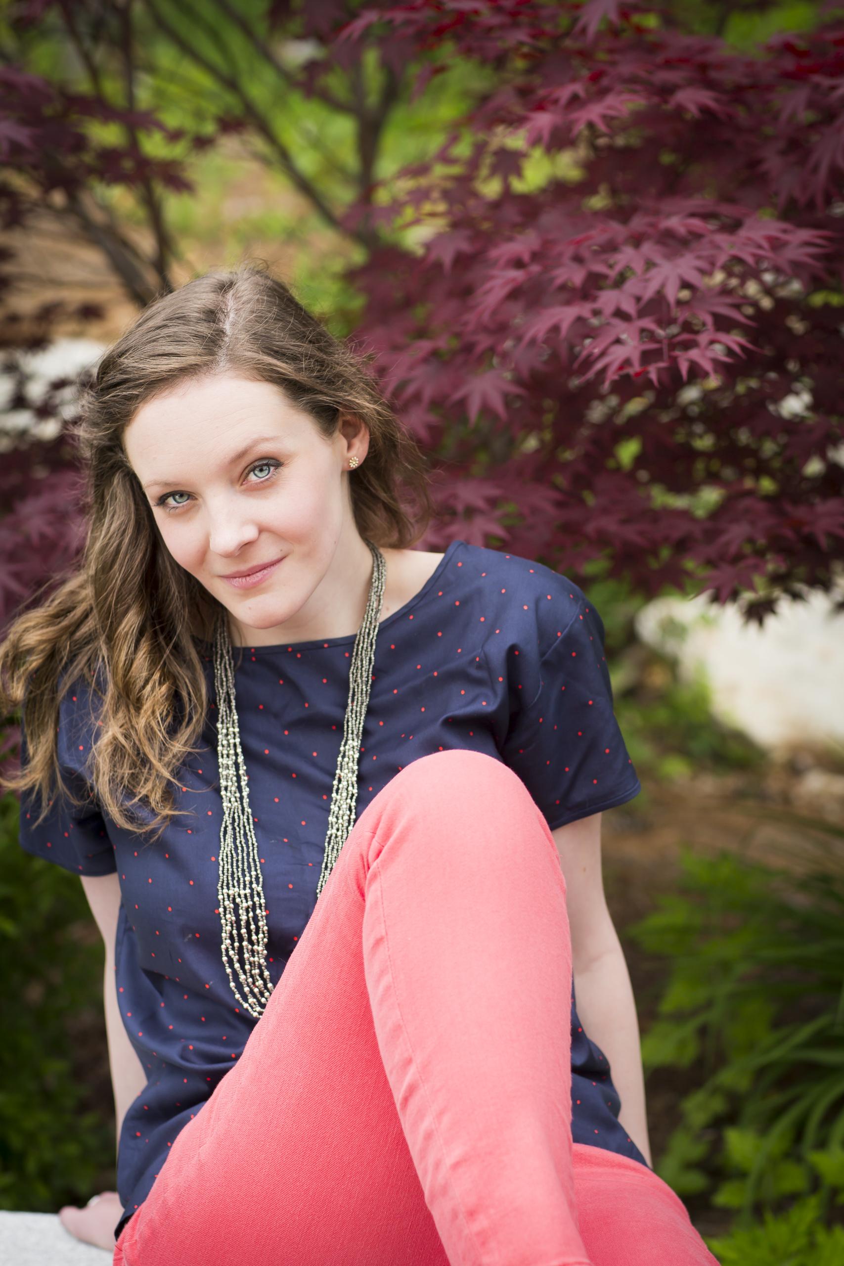 18 modern outdoor styled polka dot shirt senior portrait session with maple tree 4365.jpg