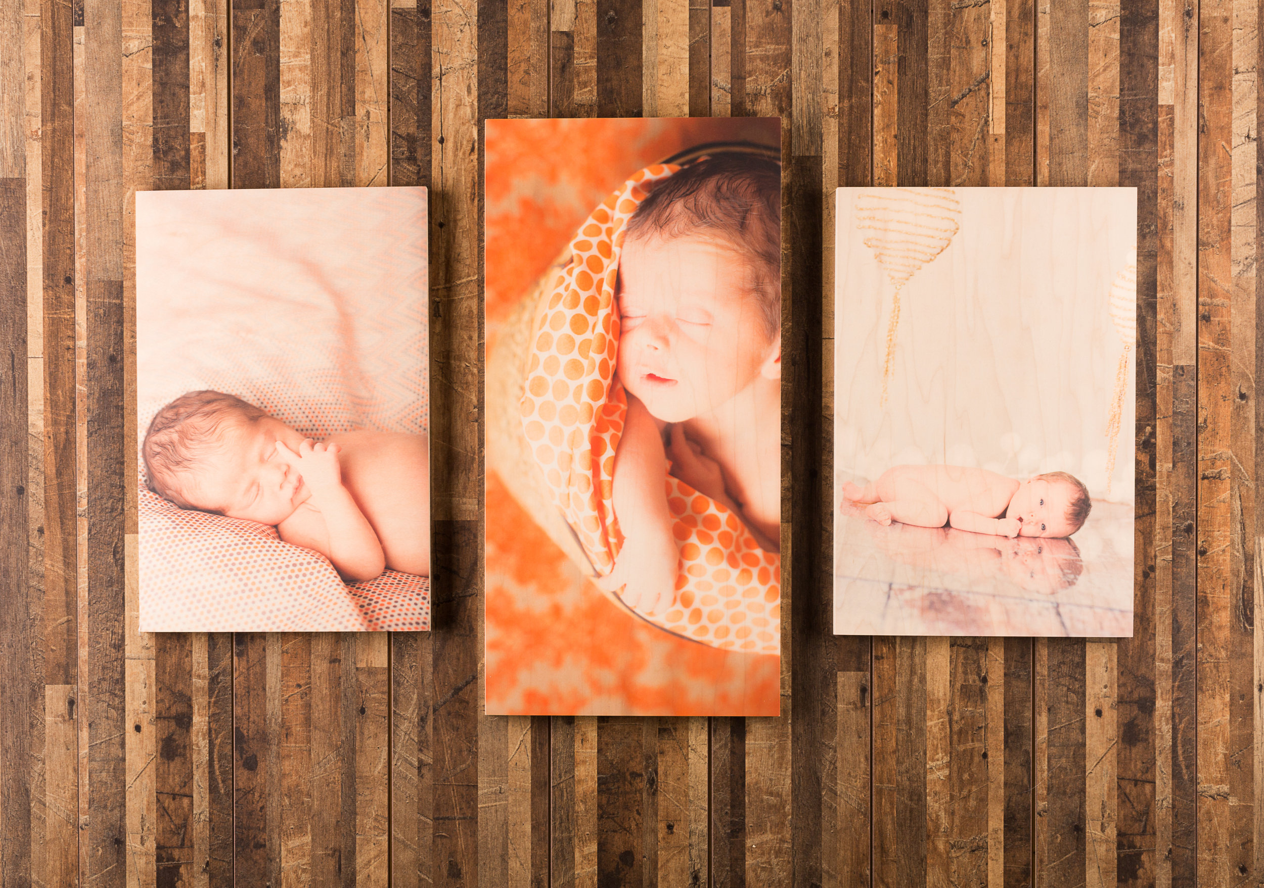 """Pictured here: Floating wooden print triptych. (2) 11x14"""" floating wooden prints, (1) 10x20"""" floating wooden print."""