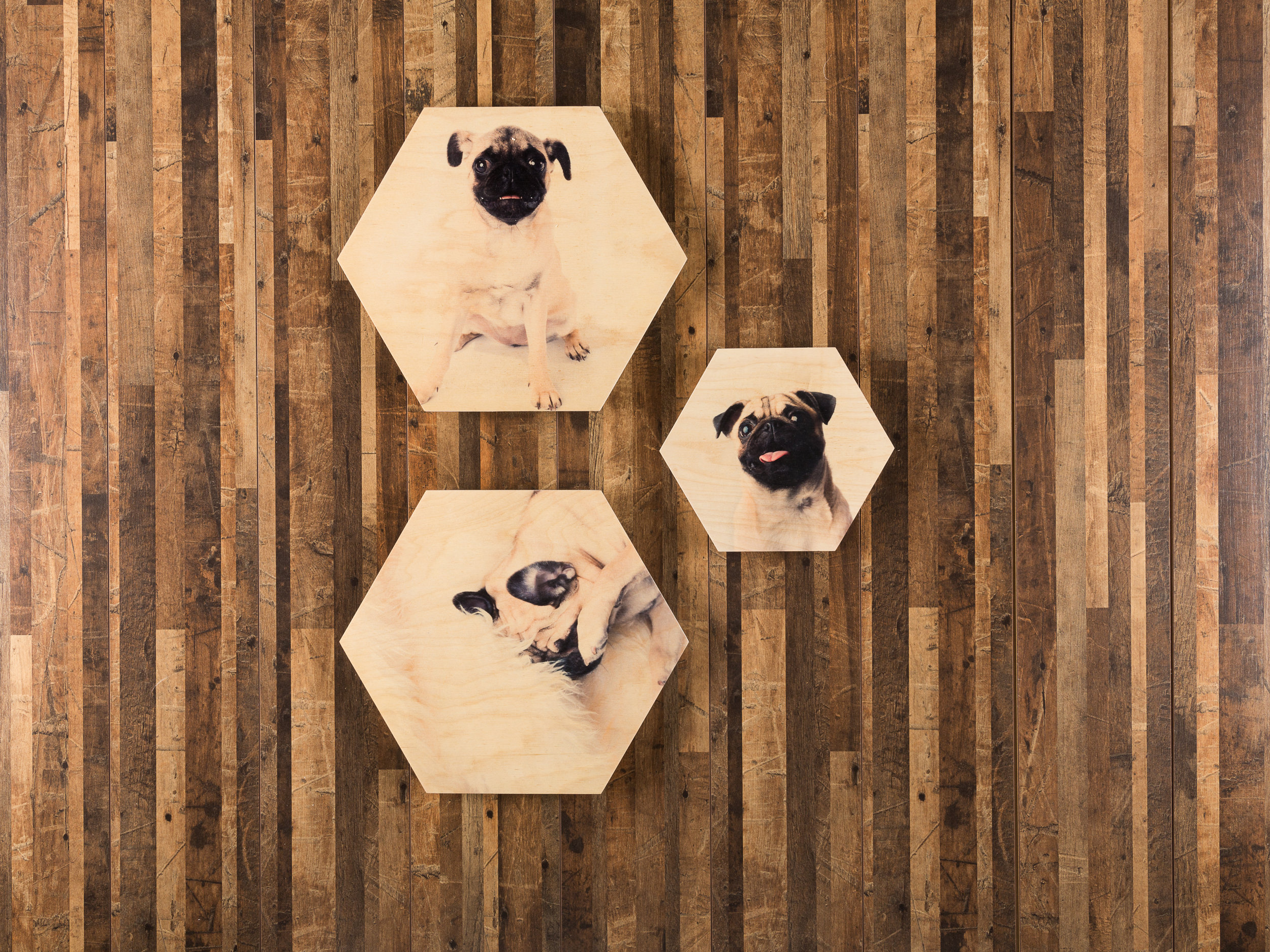"""Pictured here: Hexagon wooden print triptych. (2) 12"""" hexagon wooden prints and (1) 8"""" hexagon wooden print."""