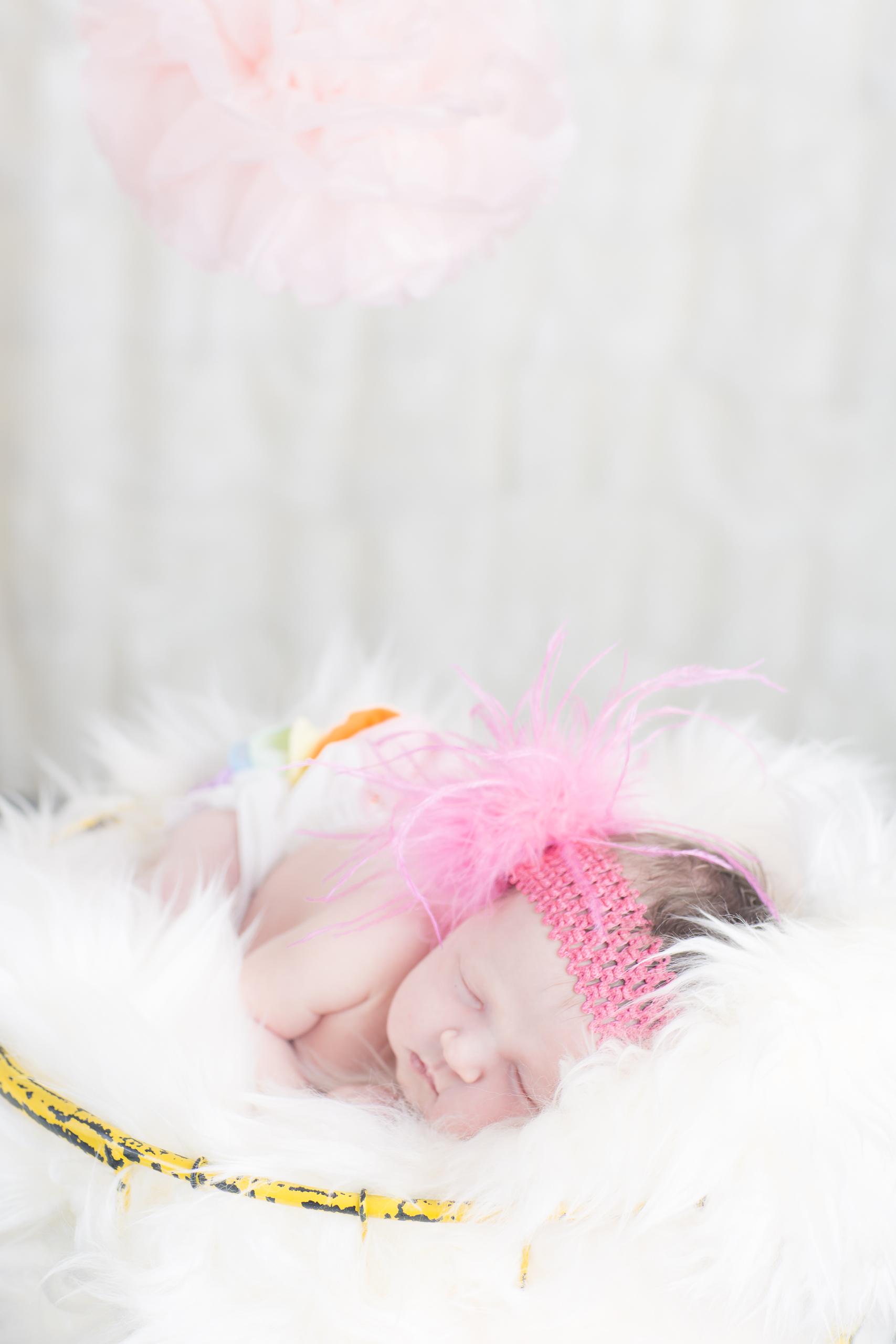 04 newborn girl rainbow pink feather headband fur rug basket studio photography session.jpg