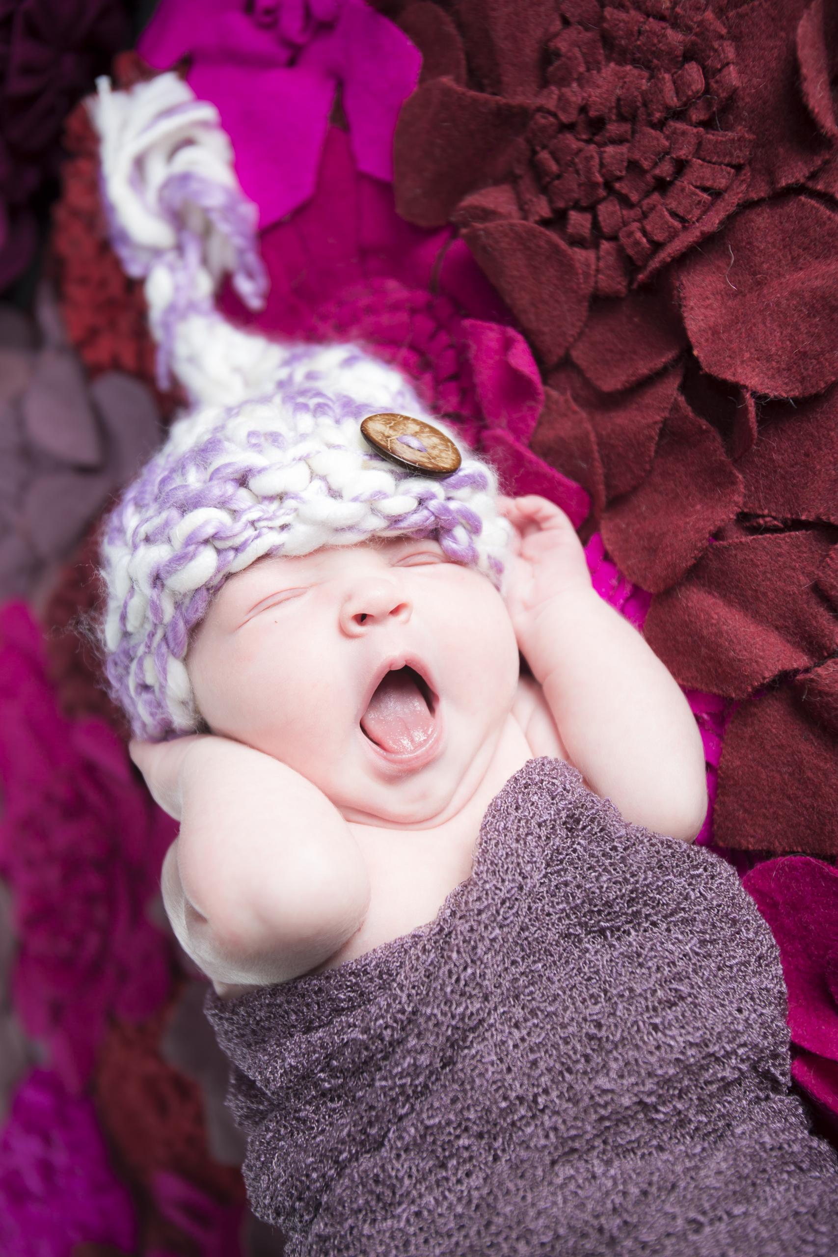 08 newborn girl purple swaddle knit hat flower felt rug studio photography session.jpg