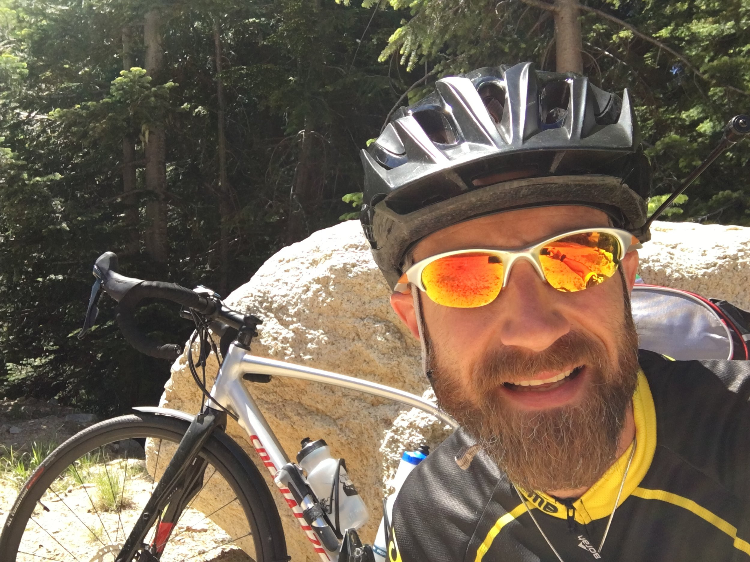 Selfie break with my Specialized Diverge in the background heading up the pass.