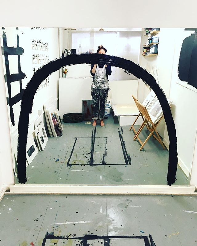 I love the sun. I love the moon. . Testing out large scale ideas in the studio. . S T U D I O . O P E N . 20 TH -  21 ST . S T U D I O  1 1 4 H I G H  S T R E E T R Y D E . E X H B I T I N G  with @timfawcett_art @kathywilliams_3 . . . #blackandwhite #openstudio #artiststudio #studiolife #monochrome #lunar #abstract #monochrome #minimal #isleofwightartist #contemporarypainter #contemporarypainting #acryclic #worksonpaper #artistresidency #abstractexpressionism #artistsofinstagram #ryde #minimalpainting #assemblage #markmaking #soul #flow #smear #isleofwight #gesturalabstraction #expressionism #paintsplatter #isleofwightopenstudios