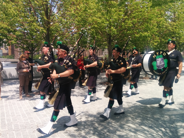 NYPD Pipes and drums herald the start of the ceremony.