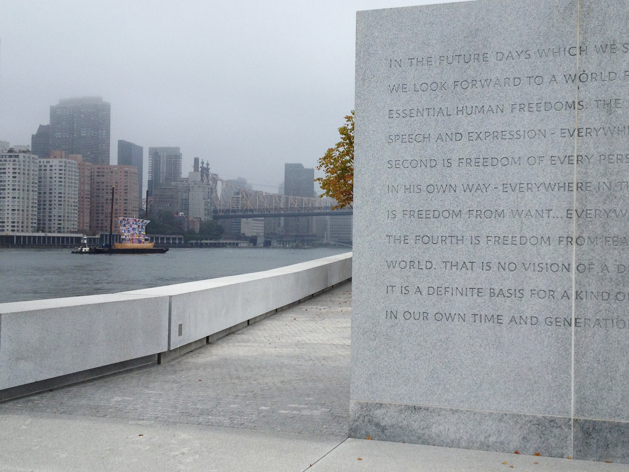 The Ship of Tolerance circled the Island as Park visitors watched from Four Freedoms Park.