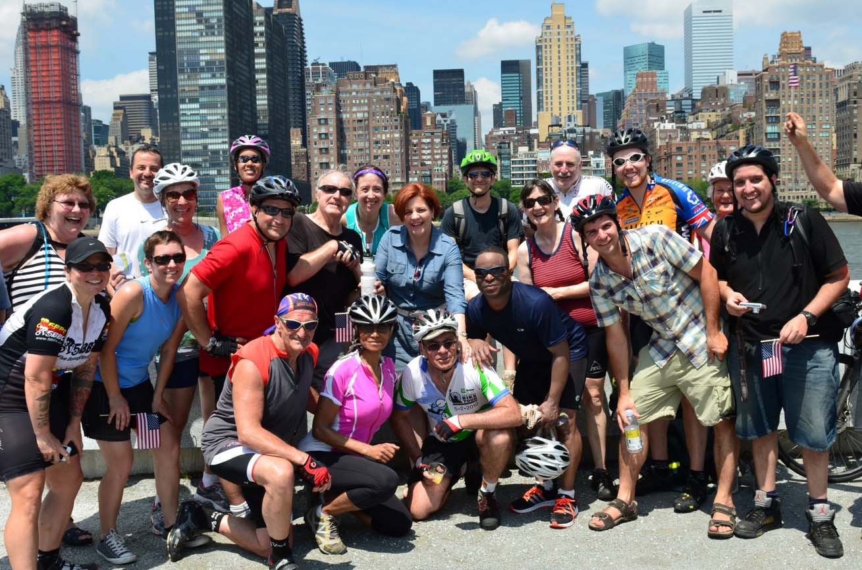 The Five Borough Bike Club took a picture with Christine Quinn.