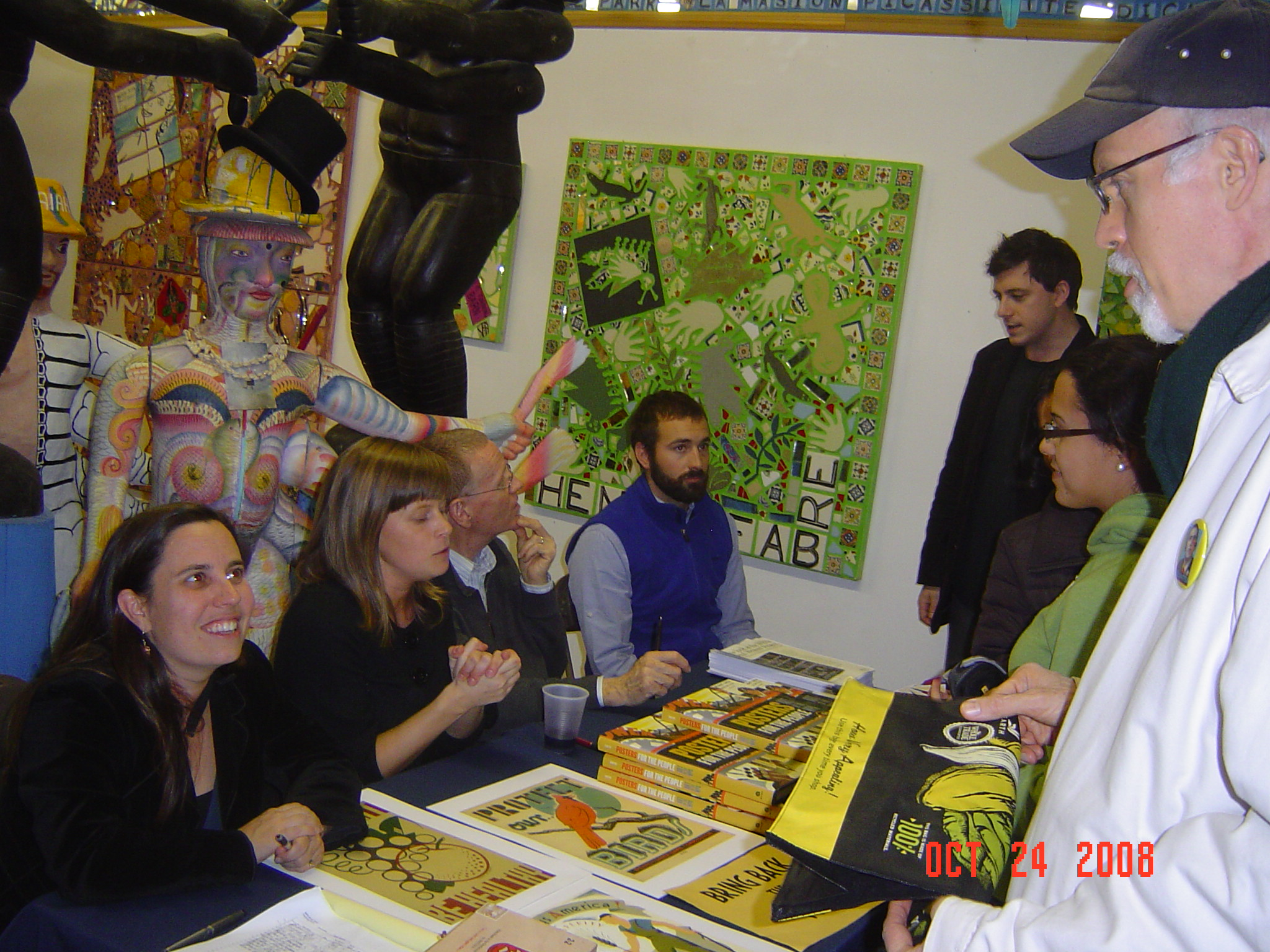 2008  Posters for the People  Book Launch. From left to right: Ennis Carter, Cara Cox, Chris DeNoon & Alex Peltz