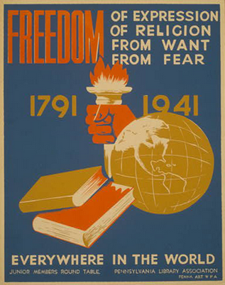 Poster for Pennsylvania Library Association inspired by FDR's Four Freedoms. Silkscreen, color.