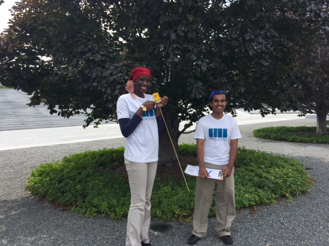 Fatima, Urban Assembly HS for Emergency Management, and Jamil,Urban Assembly HS – Bronx Academy of Letters,take tree readings at the Park.