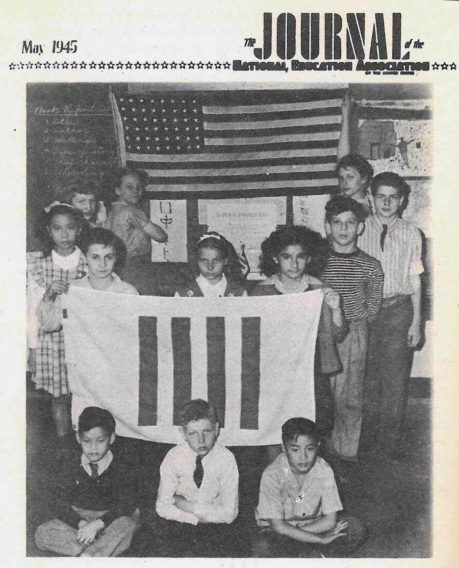 School children with their homemade flag