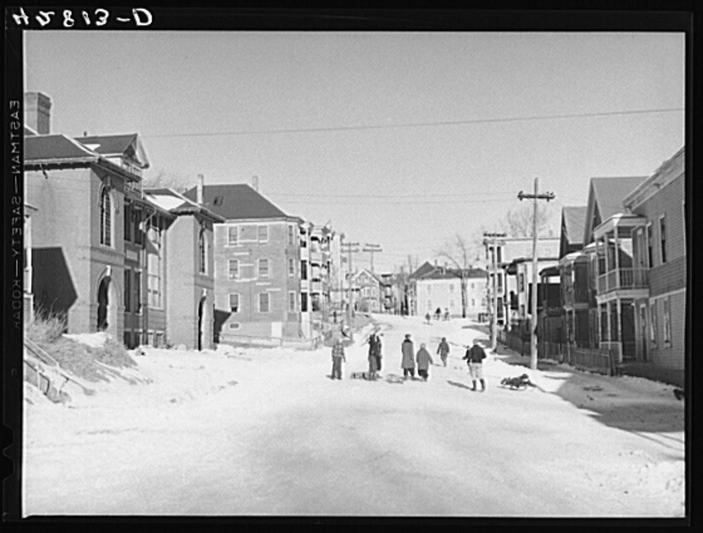 Children sledding in Haverhill, Massachusetts