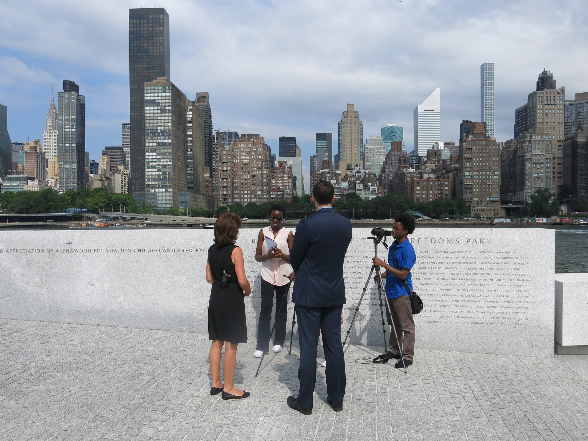 Isaiah and Marie interview Lt. Governor Kathy Hochul at the Park.