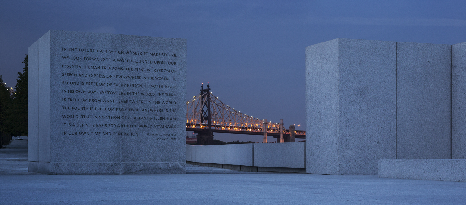 "The Four Freedoms inscribed on the granite wall of the Park's ""Room."" Photo © Paul Warchol."