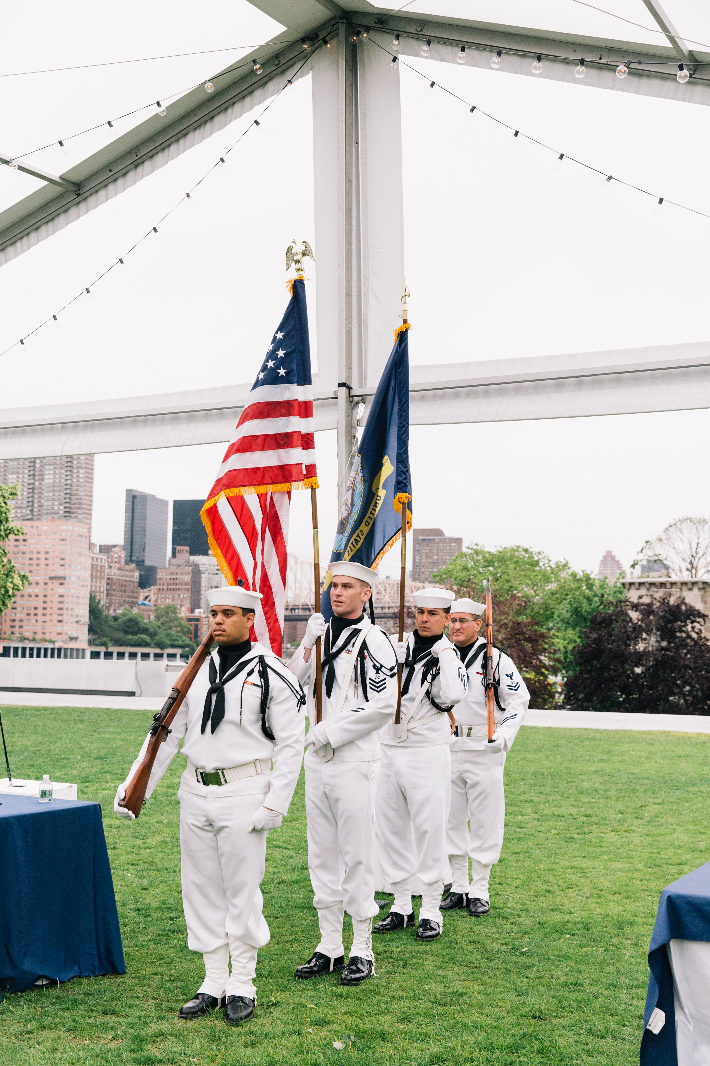 The presentation of colors by the Navy Operational Support Center of New York City.