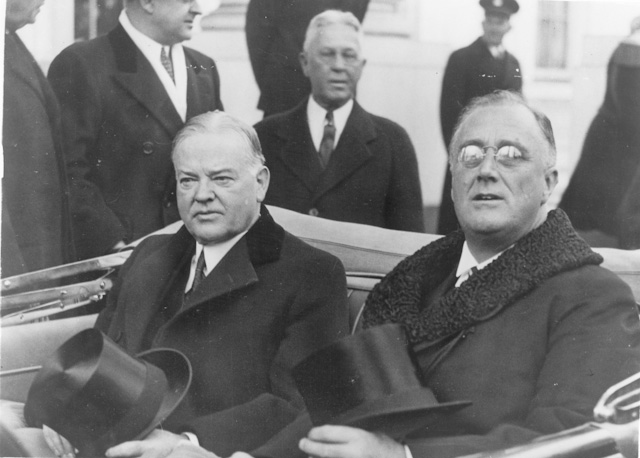 President-Elect Franklin D. Roosevelt arrives at his first inauguration with President Herbert Hoover. Image courtesy of FDR Presidential Library & Museum.
