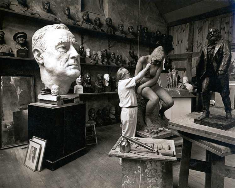 The sculptor, Jo Davidson, in his studio.