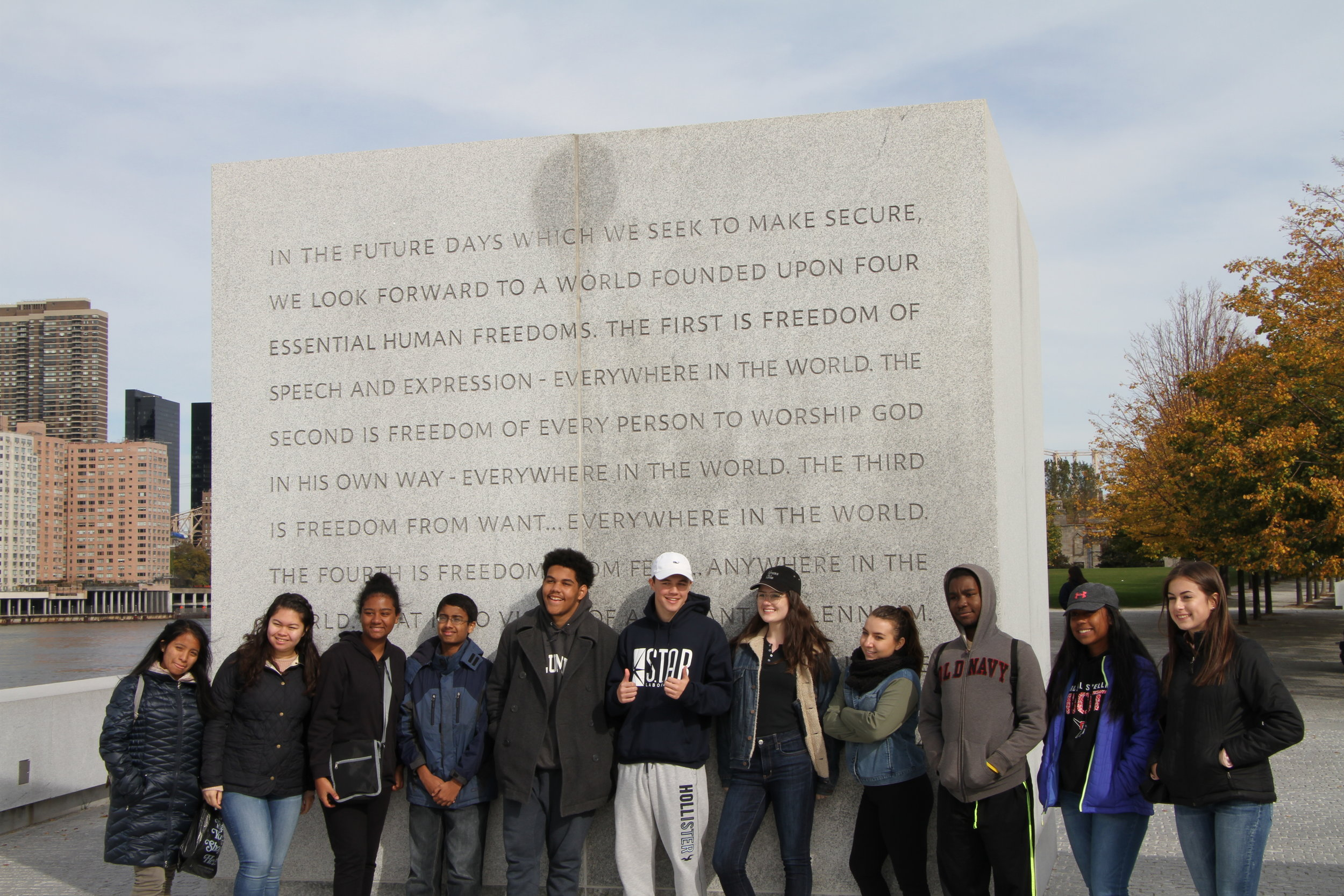 High School Students Visiting Four Freedoms Park