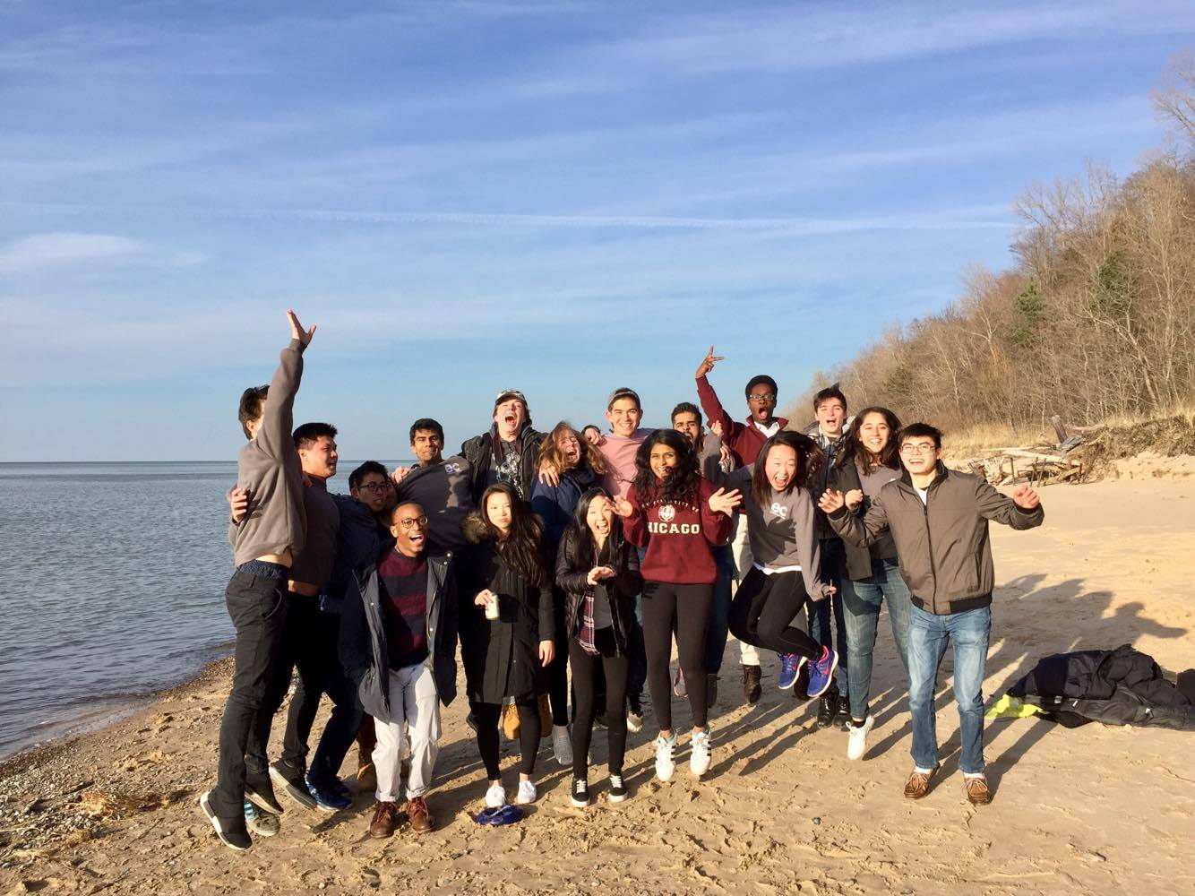 a poorly choreographed photo from ec's annual retreat to michigan