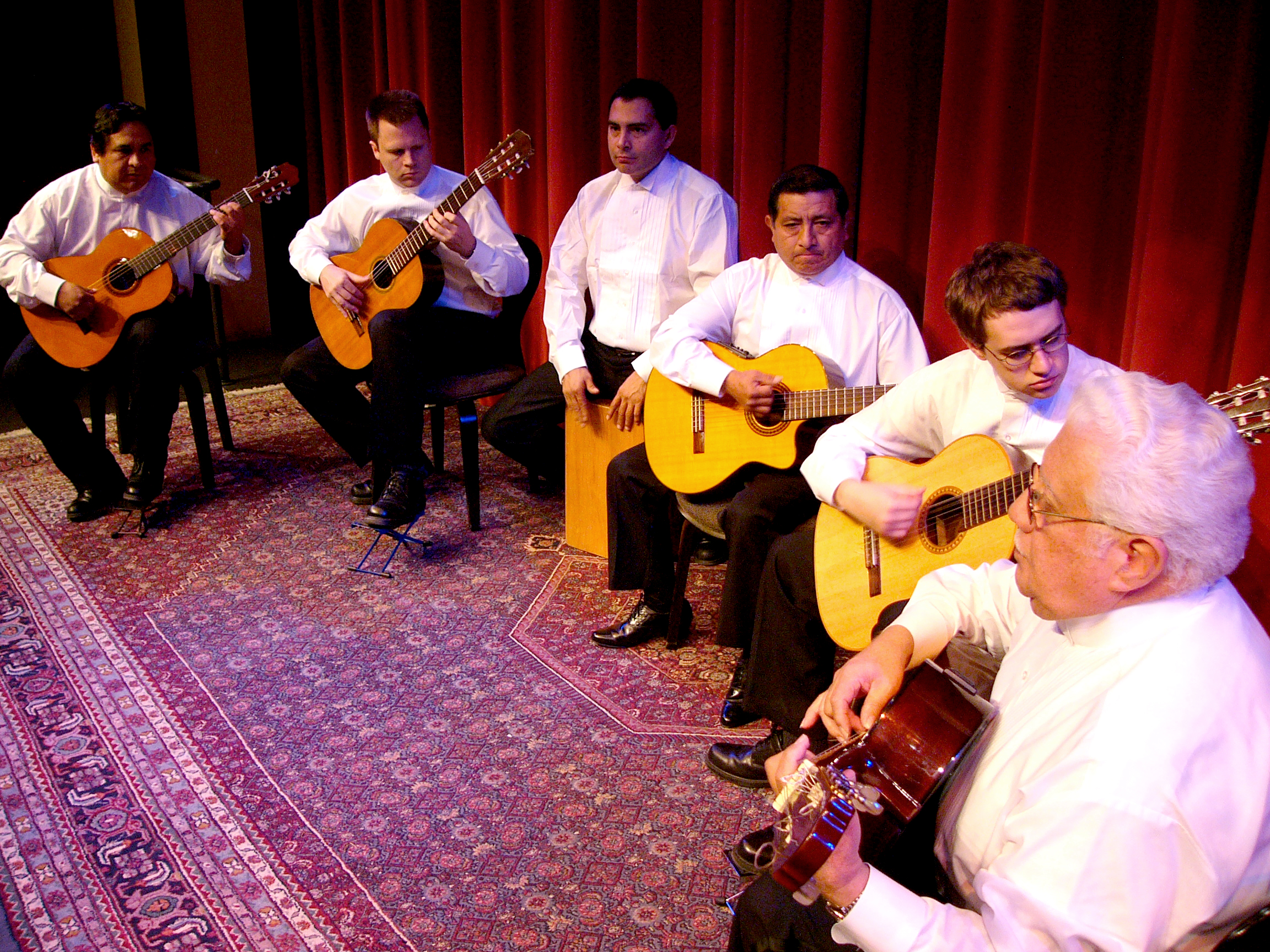 The first version of Los Guitarristas in 2004, l-r: Anibal Bellido, Neil Dixon Smith, Raul Fernandez, Pedro Verastagui, Rob Clearfield, Alfonso Chacon. Photo by Mr. King.