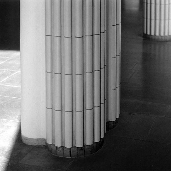 A different take on the fluted column, with tiles designed by Alvar Aalto.