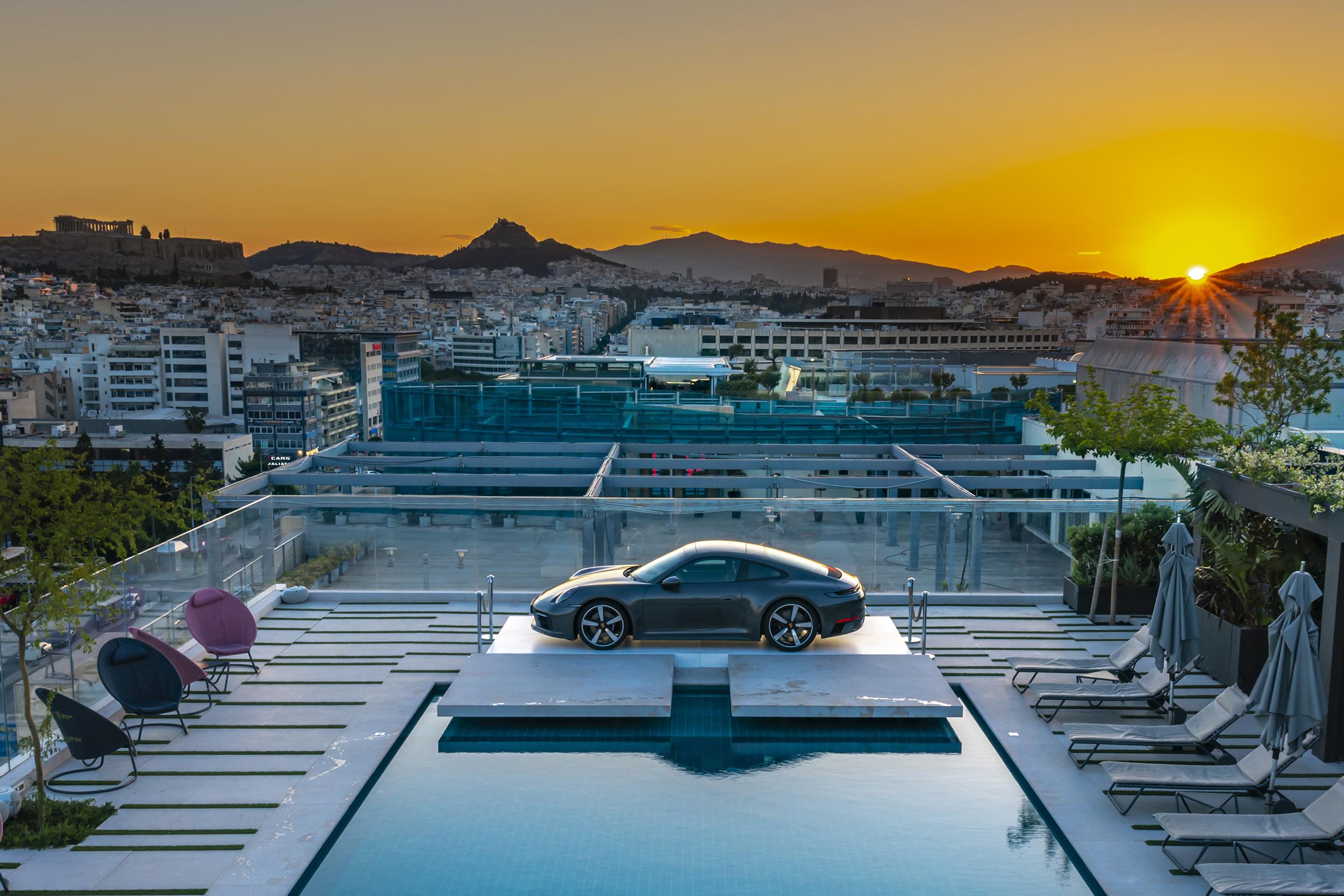 Porsche 911 on Grand Hyatt Hotel