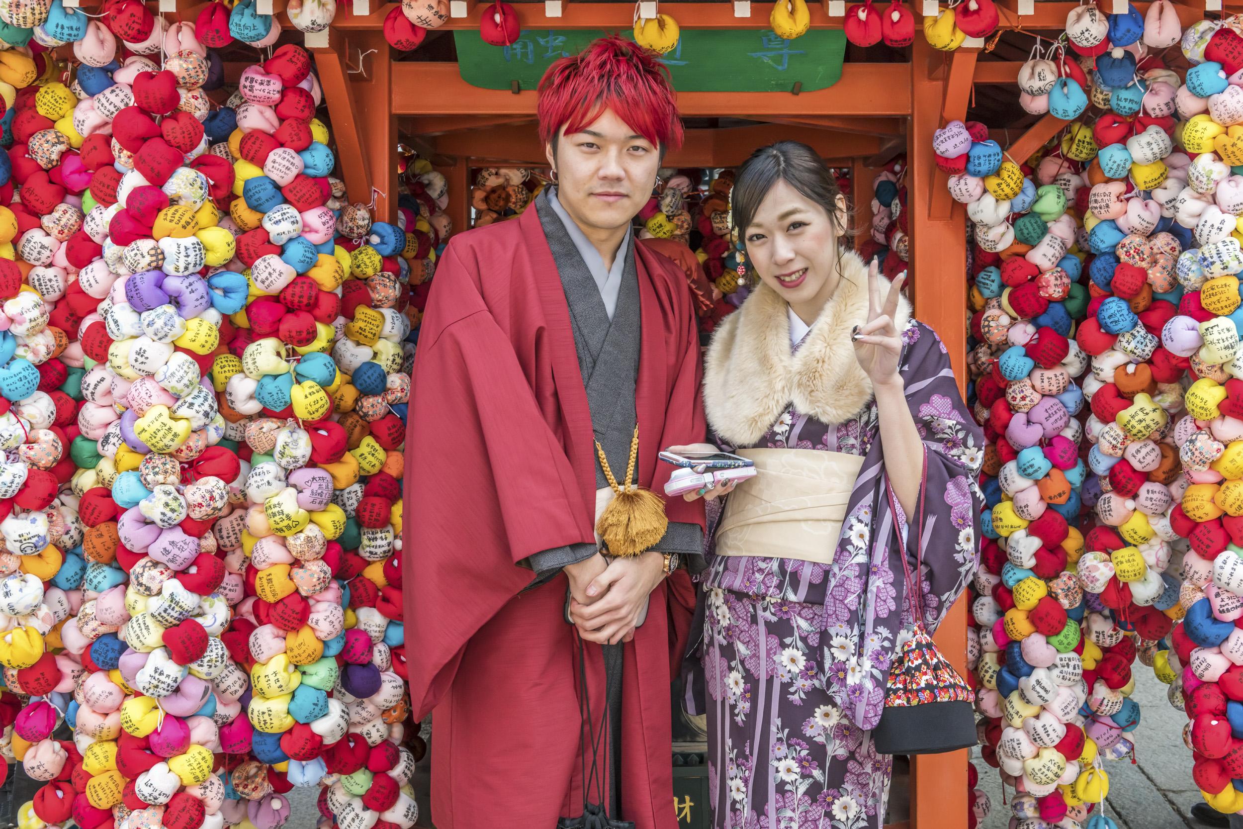 Colorful Couple at Yasaka Koshindo Temple