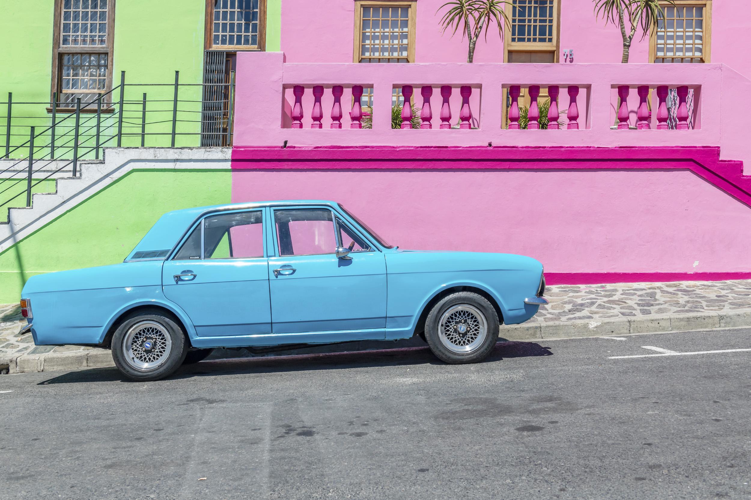 Blue Car, Pink & Green House - Bo Kaap, Cape Town