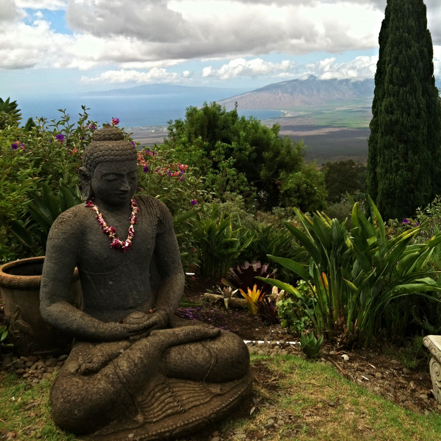 Buddha statue at a vista point on the Hawaiian island of Maui