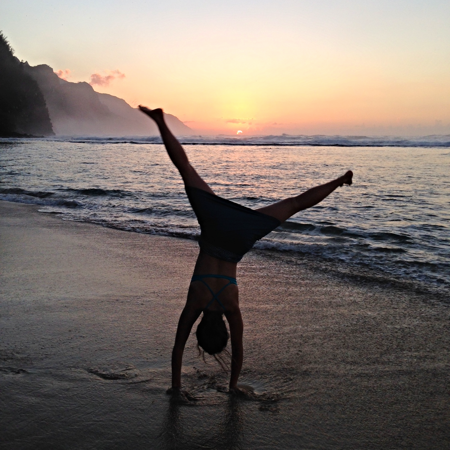 Cartwheel on Kauai beach