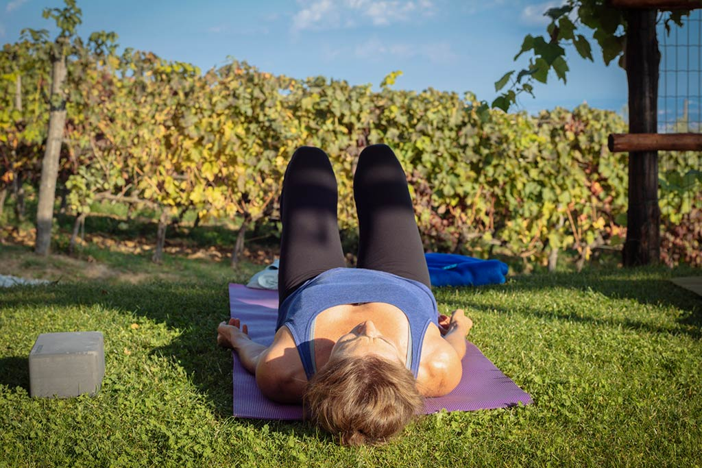 Post-practice, relaxation bliss on our  Tuscan Countryside Yoga Adventure .