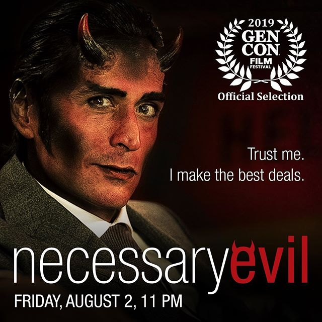 "It's on! Tonight at 11 pm is the @gen_con screening of Necessary Evil. The fabulous @mr.markmeer is on site representing #TeamEvil so if you see him make sure to say ""Hi!"" #gencon #gencon2019 #necessaryevilseries #yegfilm #webseries #moviemaking #storyhive #movie #film #filmmaking #devil #demon #corporatehell #screening #makingmovies #supportindiefilm"