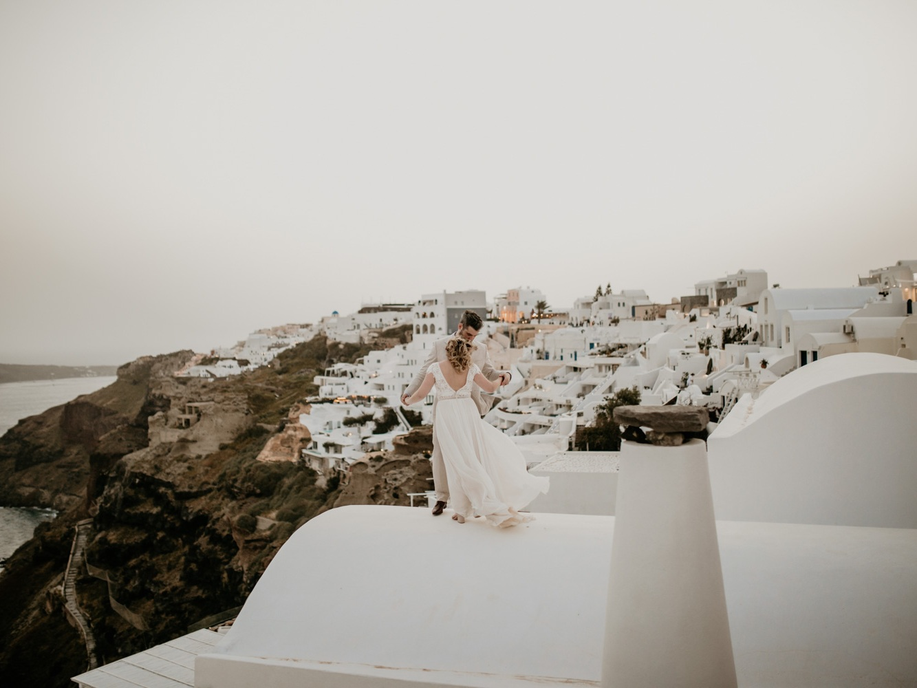 Santorini, Greece Rooftop Wedding -