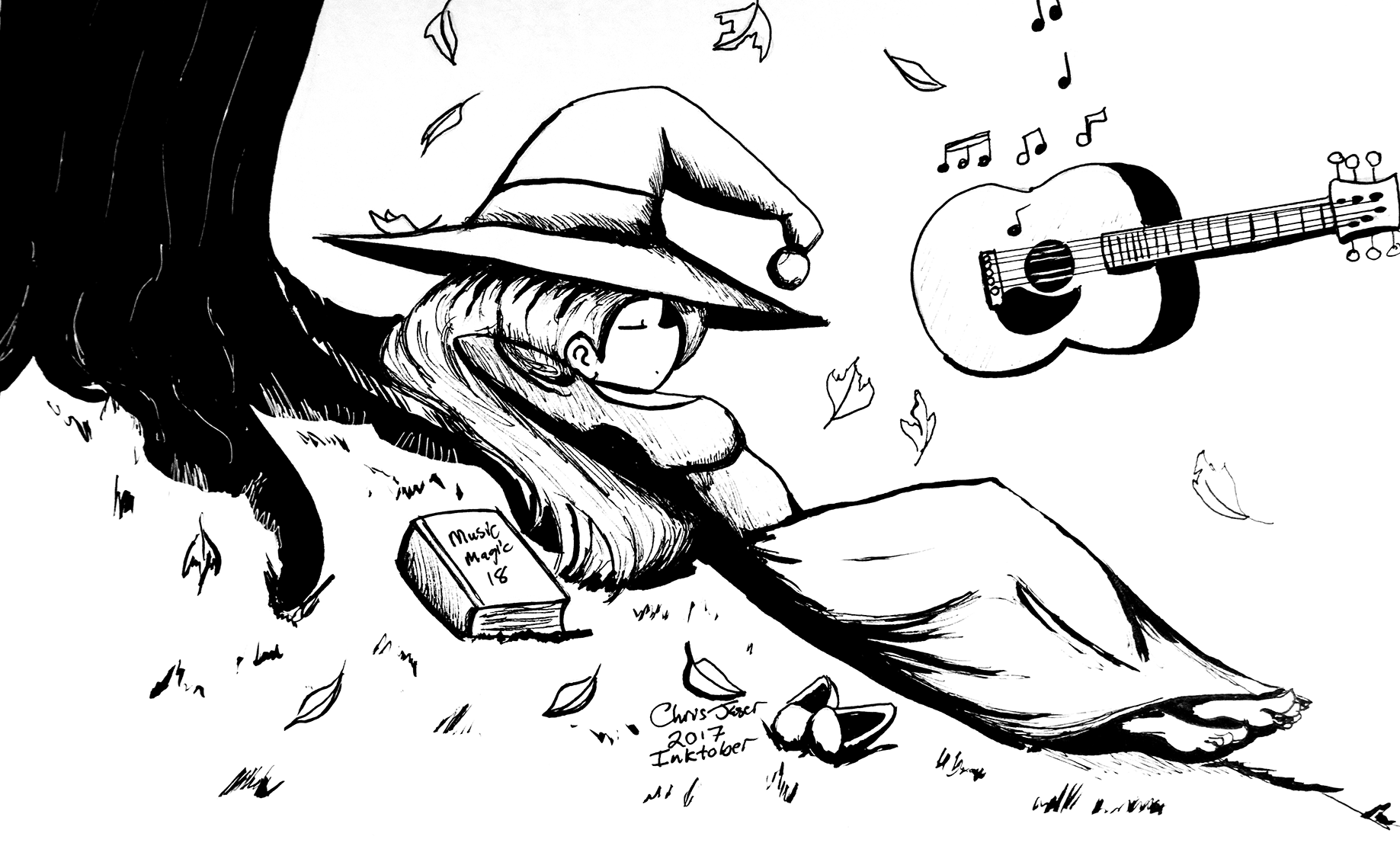 Inktober Guitar Witch.png