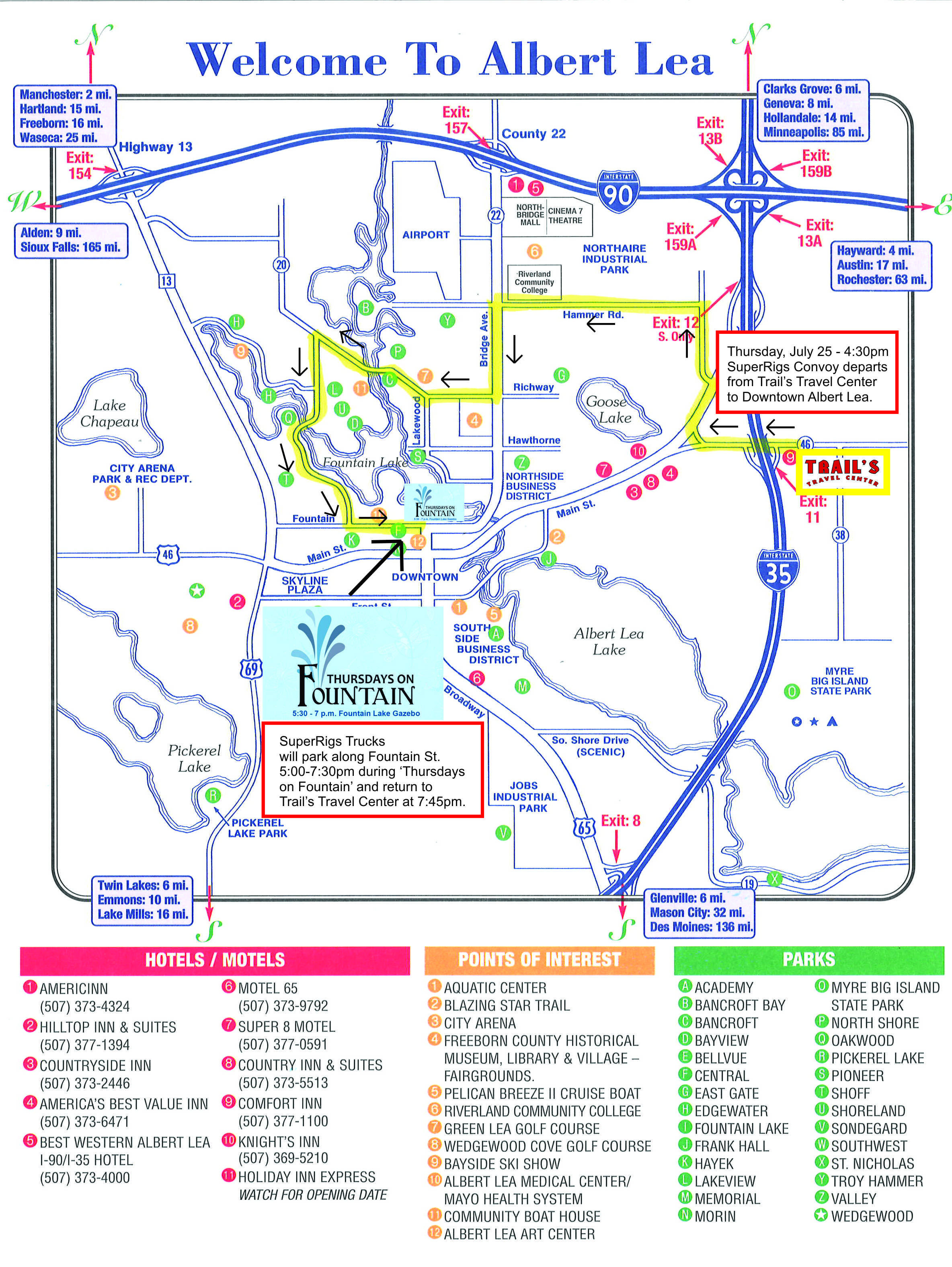 SuperRigs Convoy from Trails Travel Center to Downtown Albert Lea Thursdays on Fountain Map.jpg