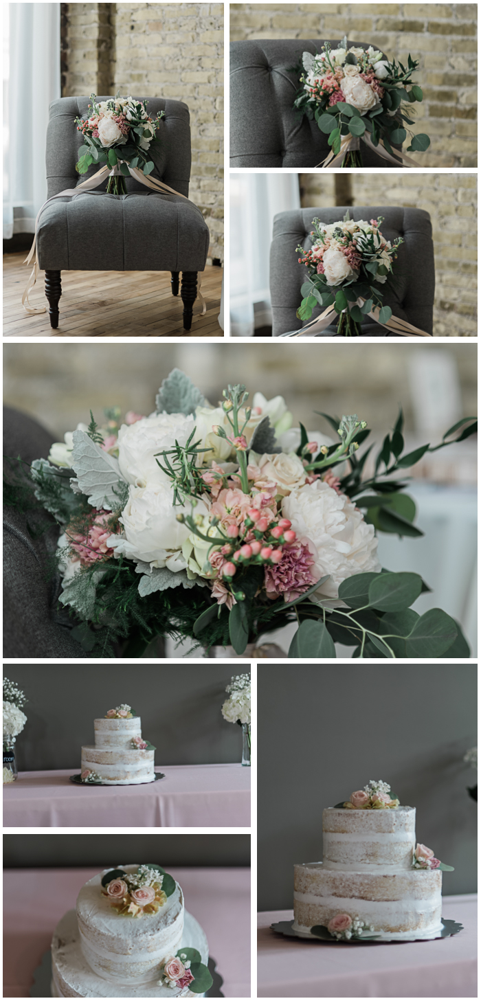 My jaw dropped when I saw Lindsay's incredible bouquet designed by the talented Joanne at Tattered Leaf in Lyons, Wisconsin! Their cake was made by Ryan's aunt! I couldn't get enough of the handmade love that brought their wedding together.