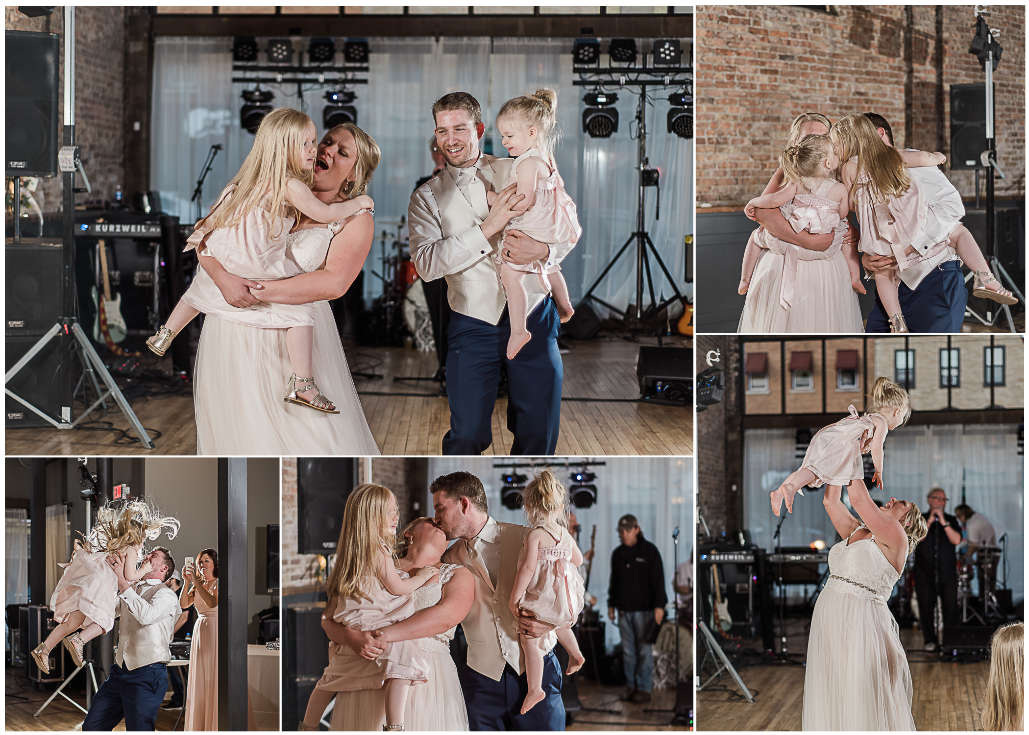 """After their dance, father-daughter and mother son dance, they brought their two girls to the dance floor to dance as a family to """"You are the Best Thing"""" by Ray LaMontagne"""