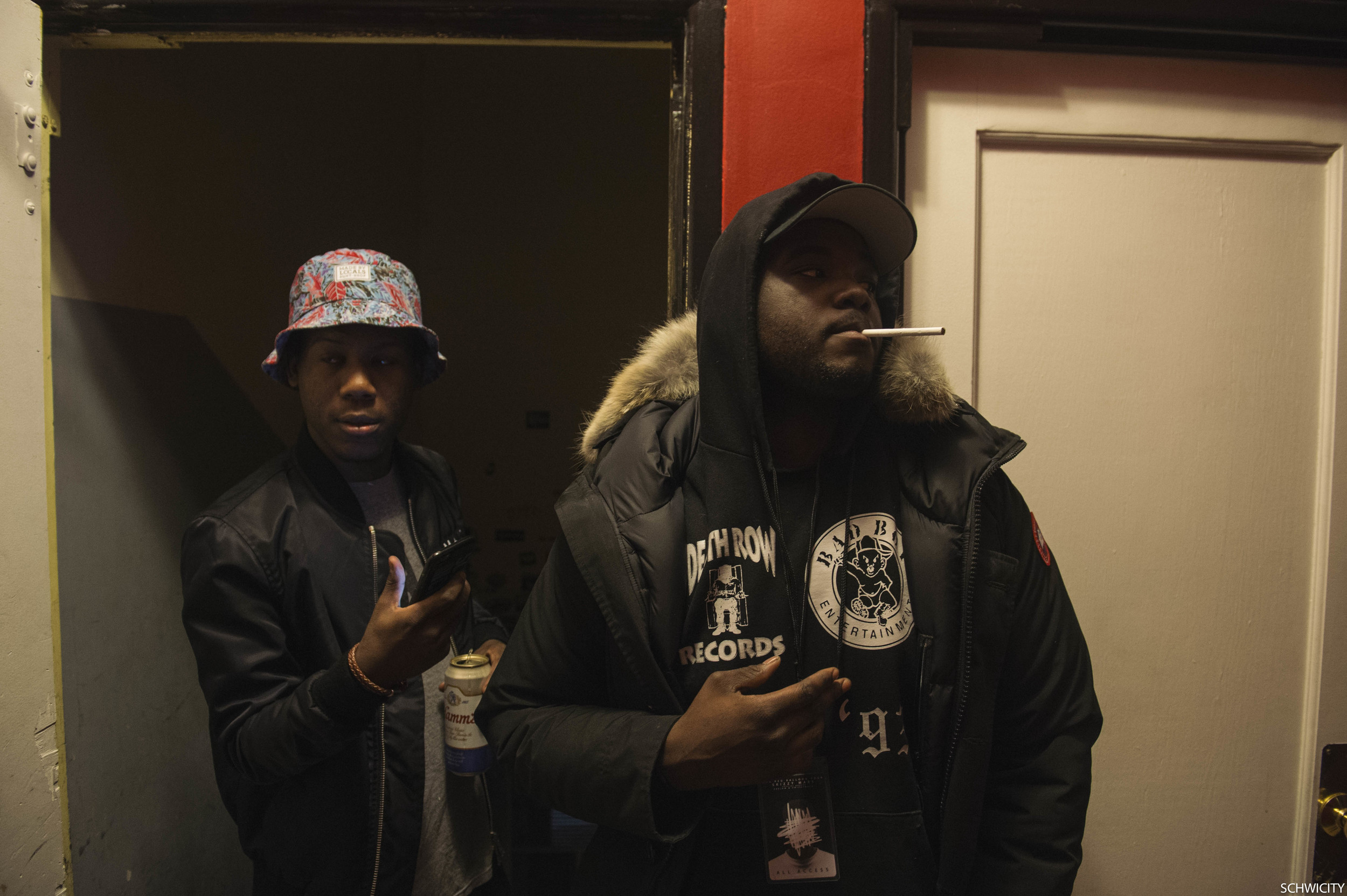 Skizzy and Swizzy before a show in Dekalb, 2015