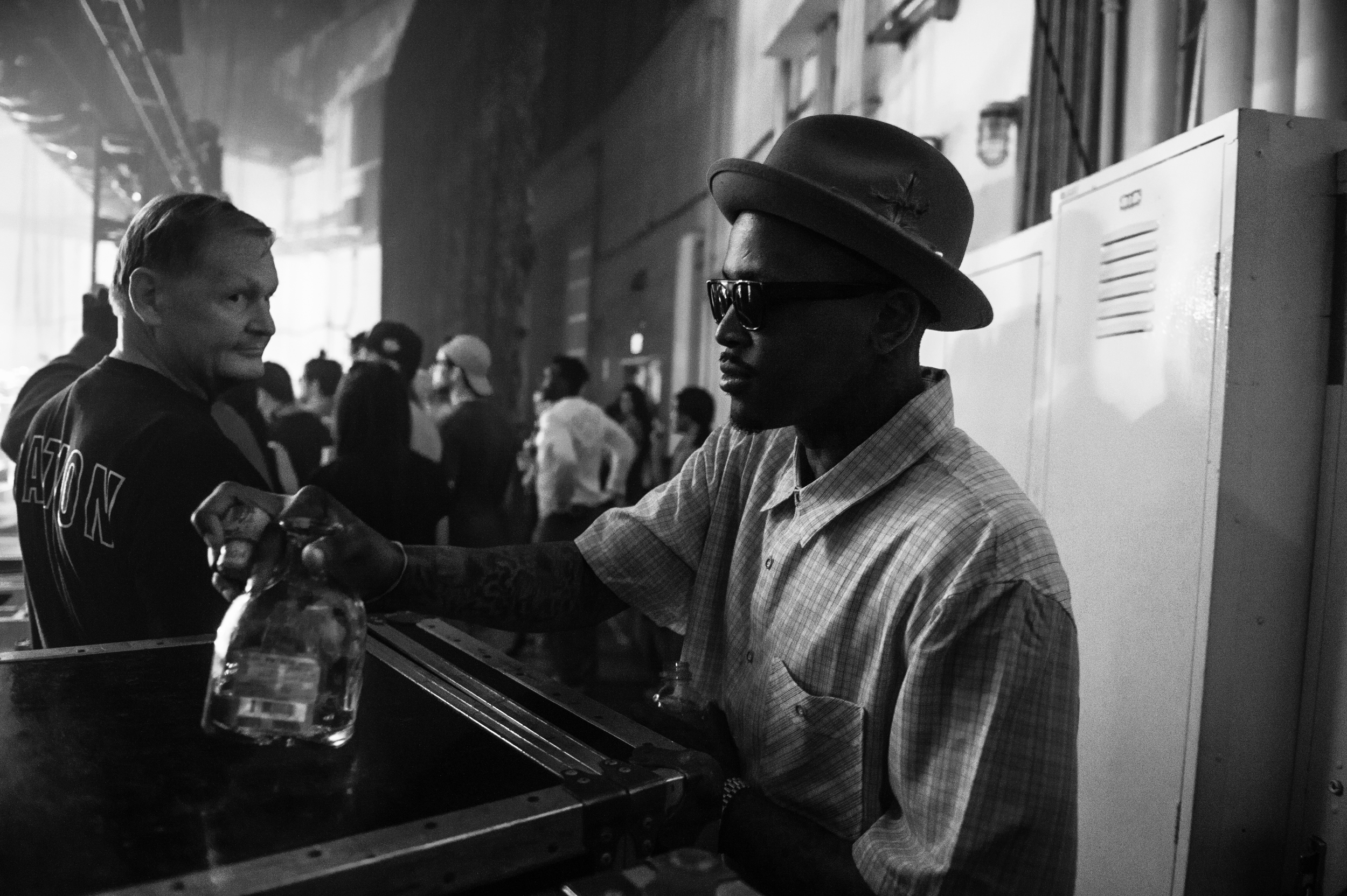 YG pouring up backstage