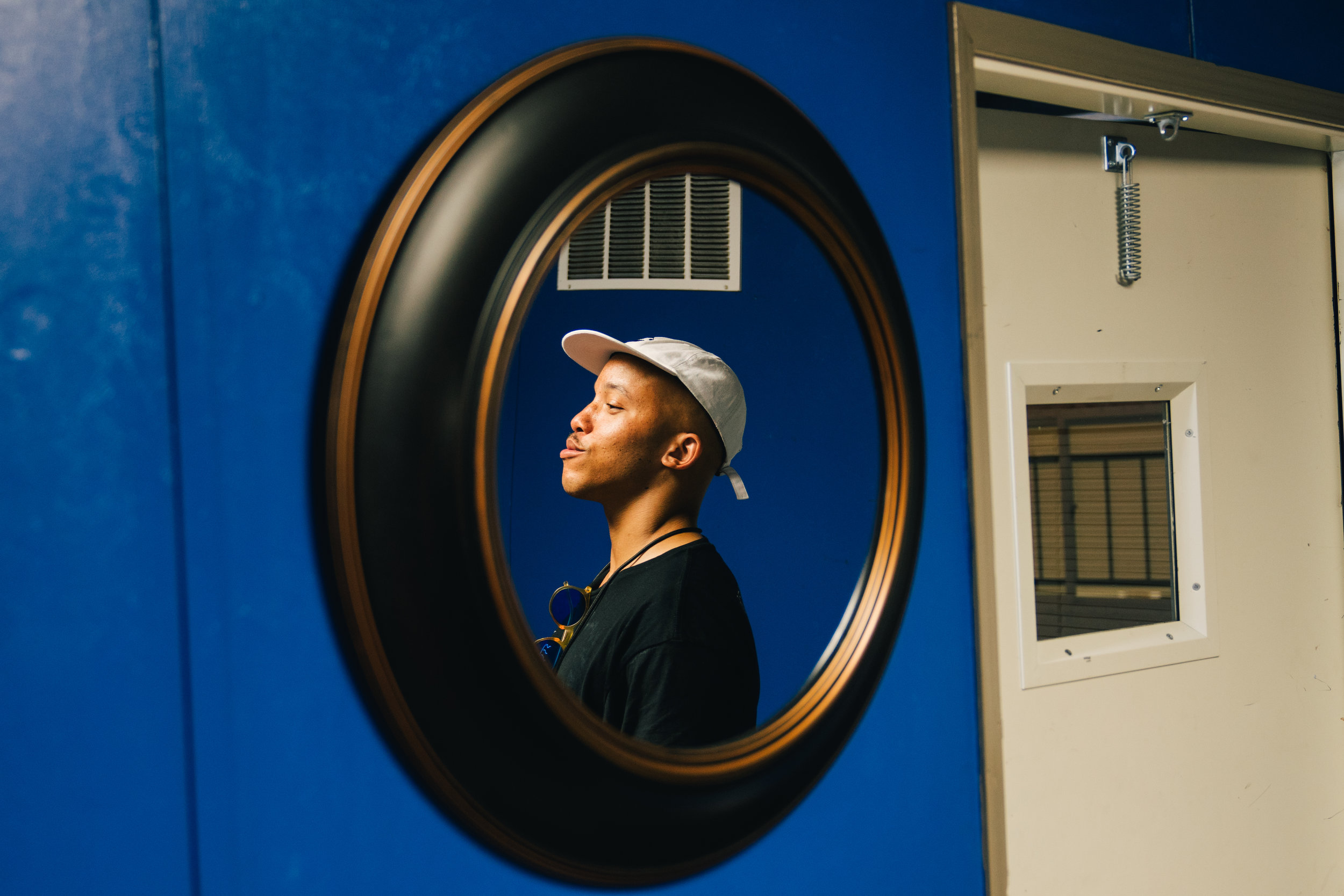 Ricky, our VIP specialist, shot through a mirror in the Austin greenroom