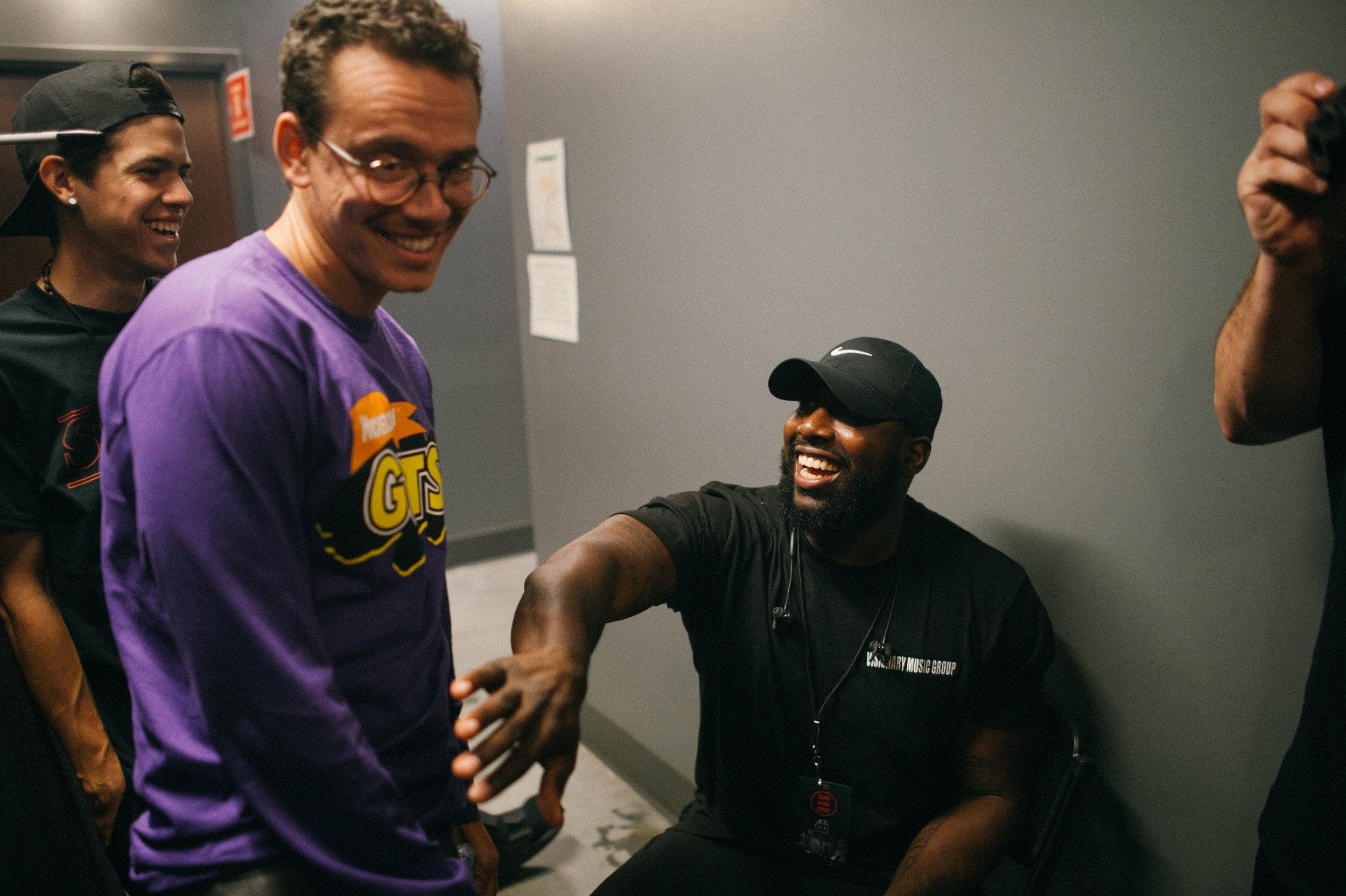 Bobby and Jordan, his bodygaurd joking around backstage in Atlanta