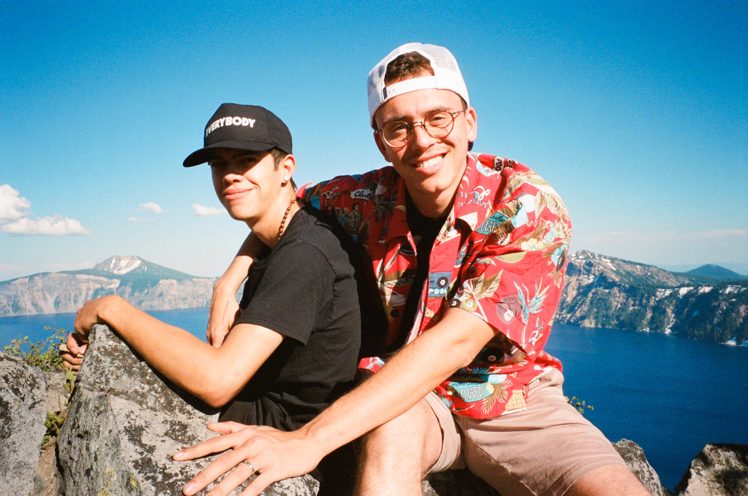 Juan and Bob sitting atop Crater Lake.
