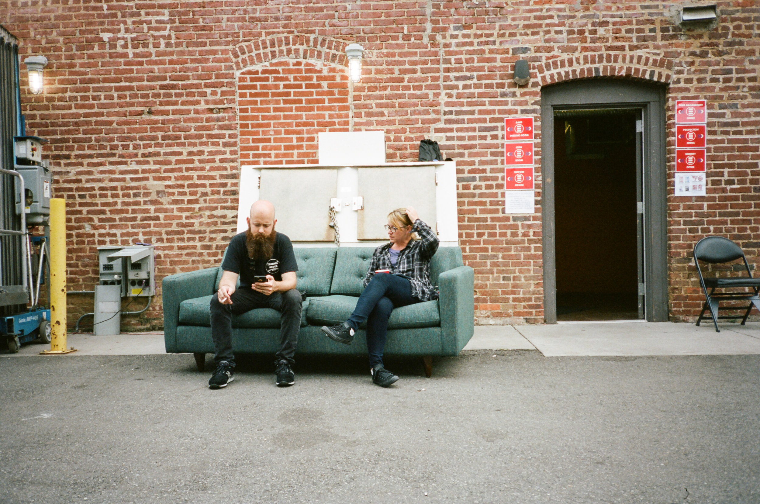 Momberg and Emily, Logic's LD, taking a cig break midday.