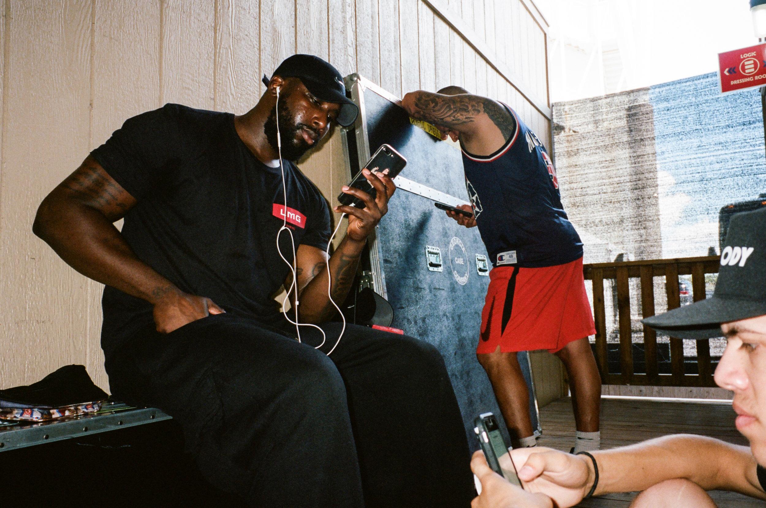 Jordan, Pep and Juan waiting outside Bob's green room in Austin