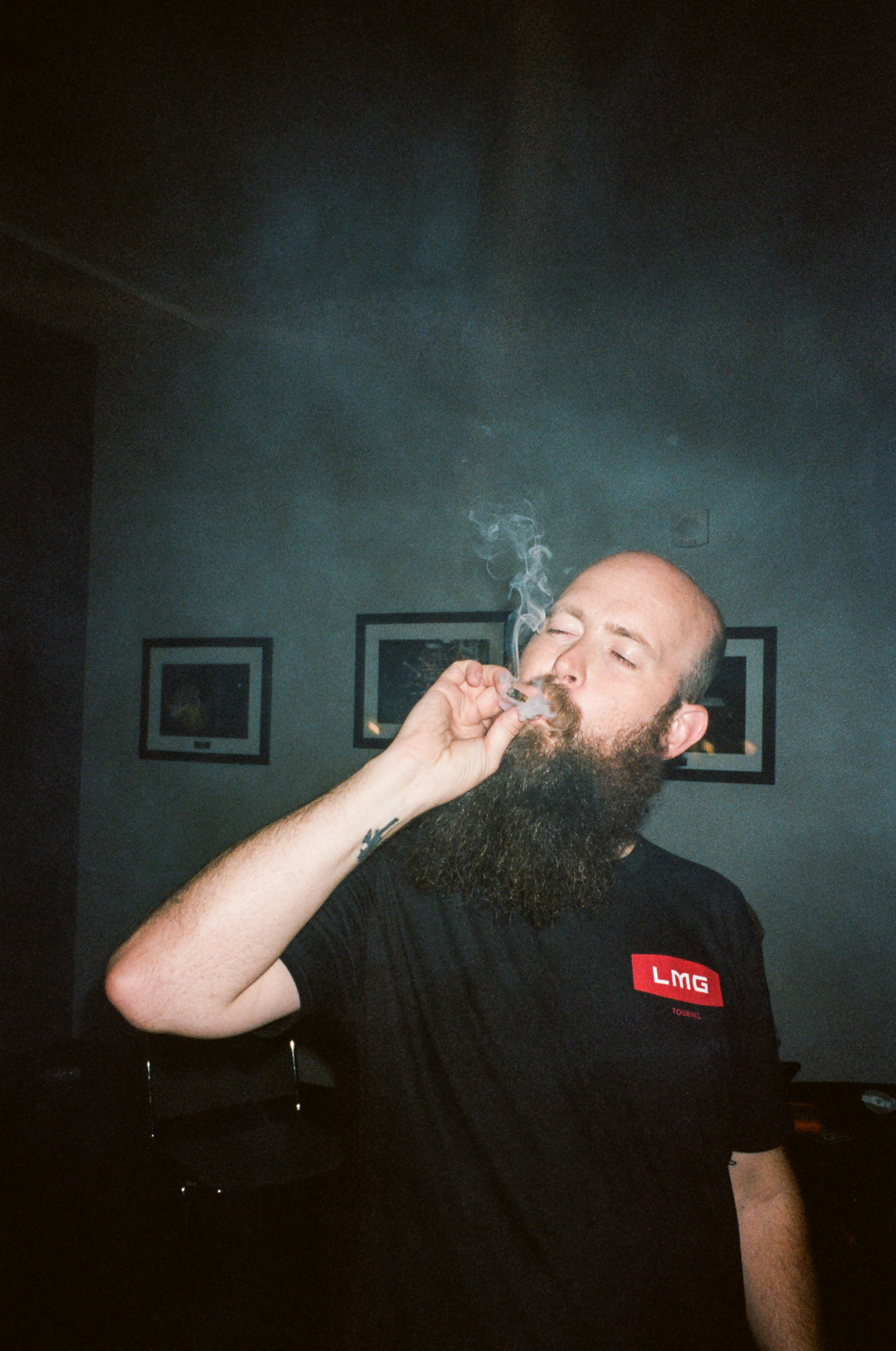 Momberg taking a much deserved toke after back to back show at Bill Graham Auditorium in SF