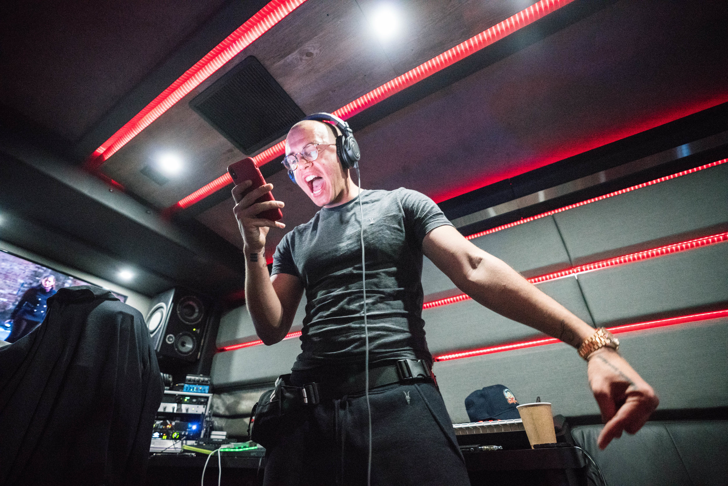 Logic recording on the studio bus for one of his new projects, 2018