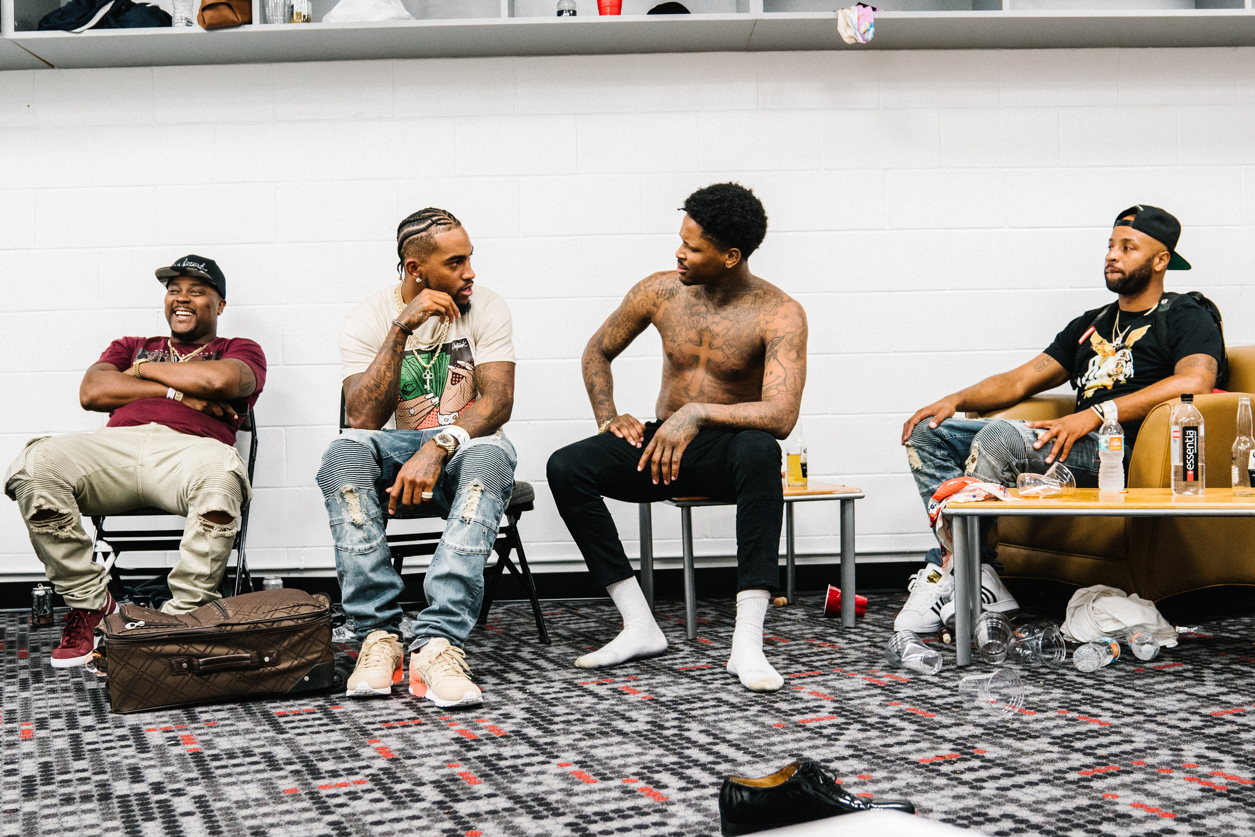 YG, Desean Jackson and friends backstage after a show in Miami, 2017