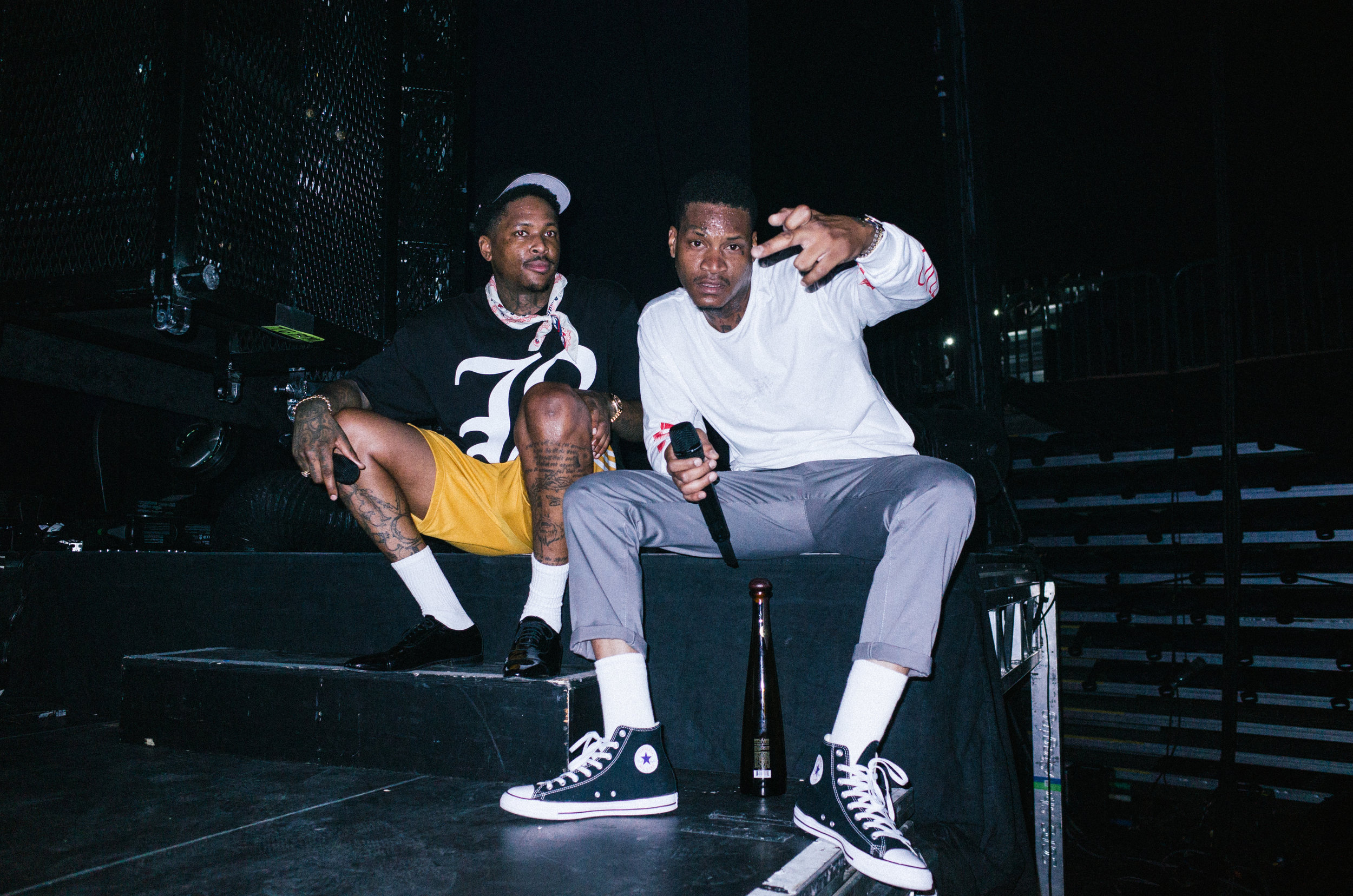 YG and Slim 400 side stage during a show break, 2017