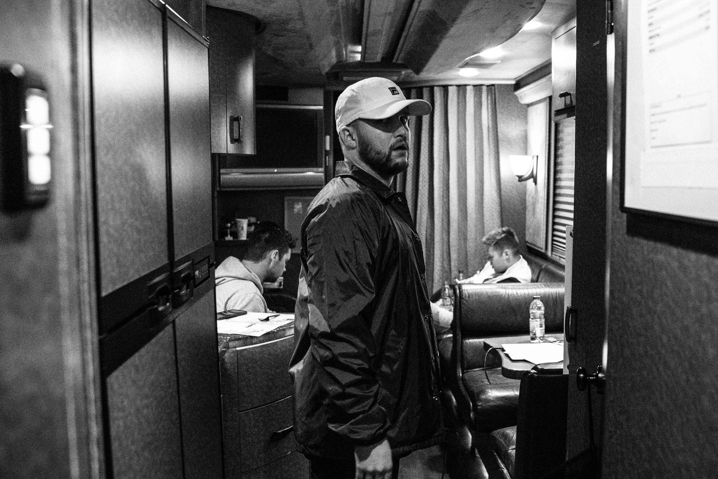Quinn after show on the bus, 2018